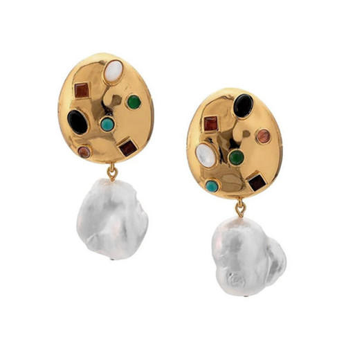 Boutique fashion jewels wholesale coloful zircon irregular pearl earrings