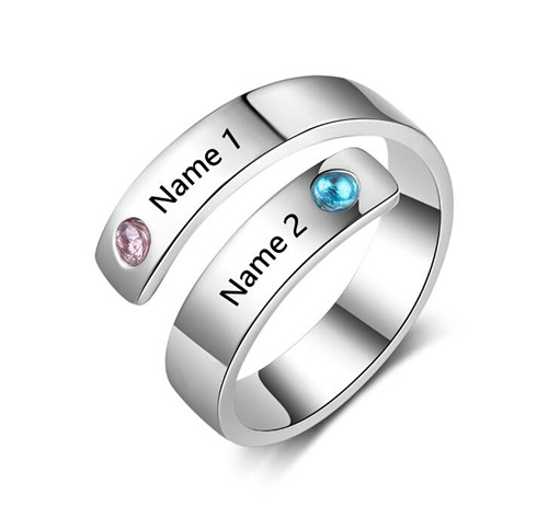 Custom two names engraving couple rings with birthstone wholesale for unisex