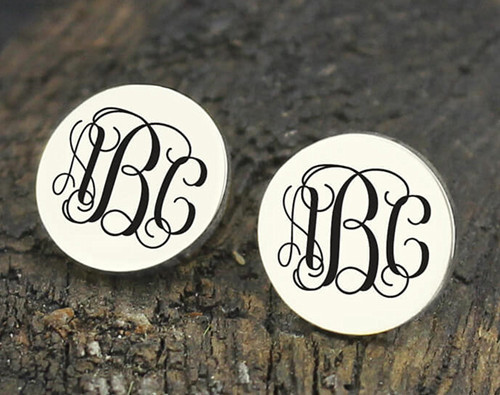 Wedding monogram jewellery bride earrings monogrammed stud earrings wholesale jewels gift idea