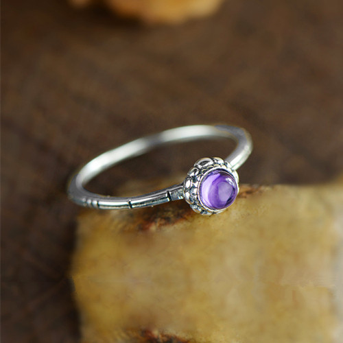 Natural amethyst stone wedding rings for women 925 sterling silver very unique gemstone engagement rings wholesale