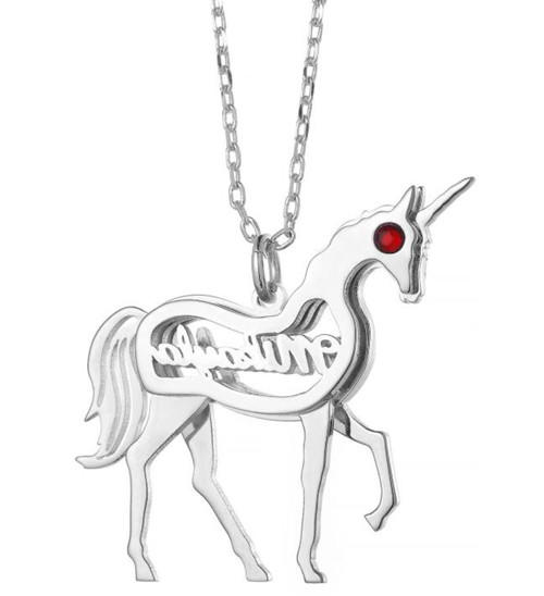 Personalized animal horse pendant necklace with nameplate and red eyes in 925 sterling silver wholesale custom made name jewelry
