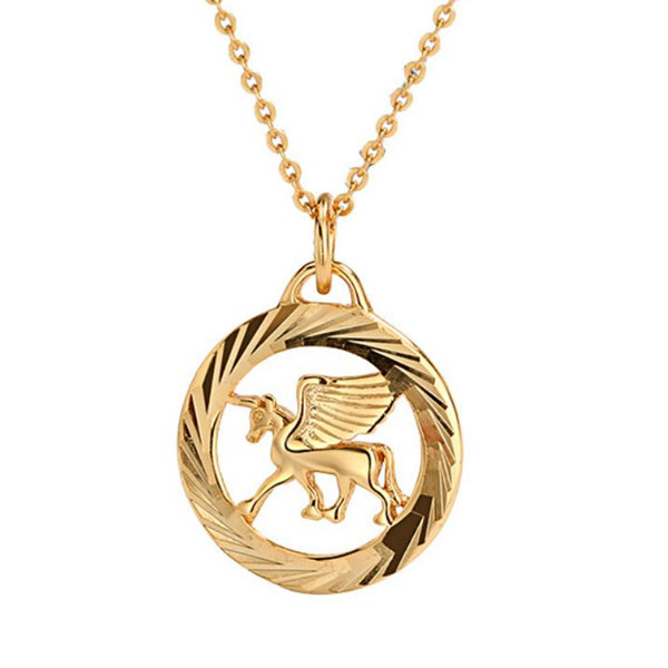 925 sterling silver pegasus unicorn pendant necklace in gold plating for women wholesale China online