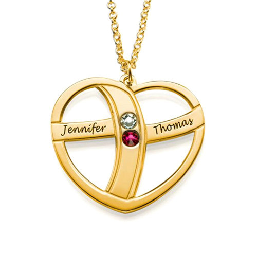 Personalized heart necklace with name and birthstone in gold plating 925 sterling silver heart shaped name necklaces custom jewelry wholesale