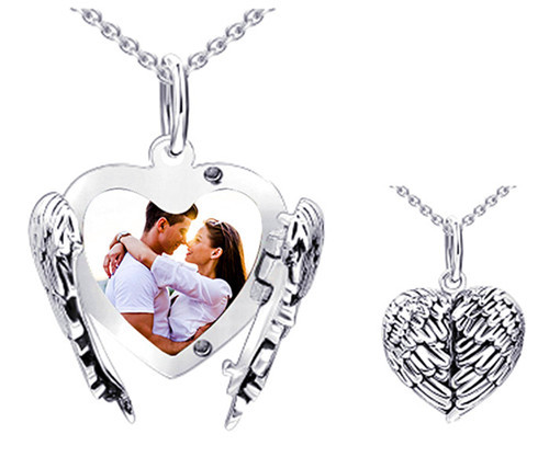 Personalized angel wings picture locket pendant in S925 sterling silver locket love photo heart necklace