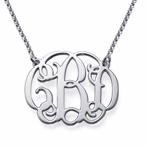 personalized silver monogram necklace monogram jewelry gift for her