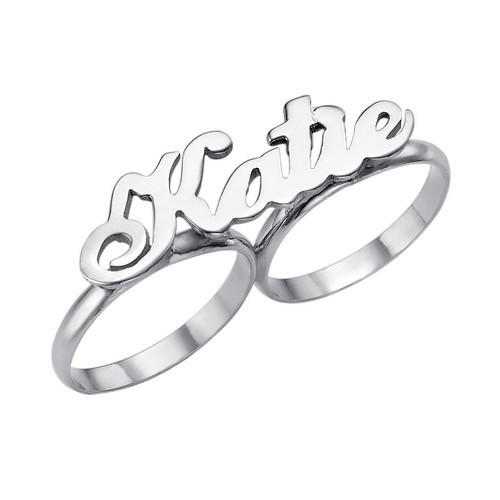 Personalized engraved name rings fine jewellery  silver two finger name ring custom jewellery wholesale
