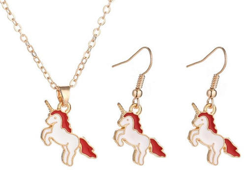 Painting accessories personalised fashion paint jewellery unicorn pendant necklace and earrings set