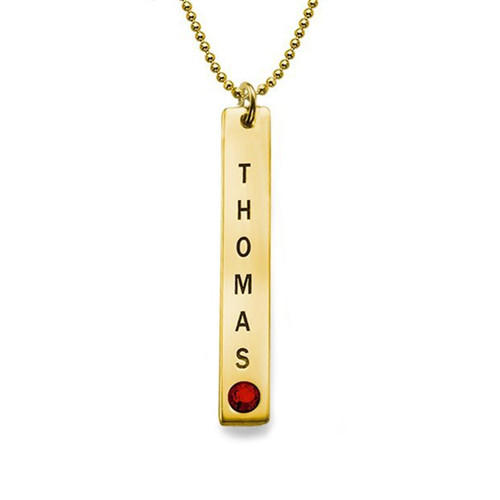Vertical 18ct gold plated bar pendant with birthstones and name engraved couples jewelry