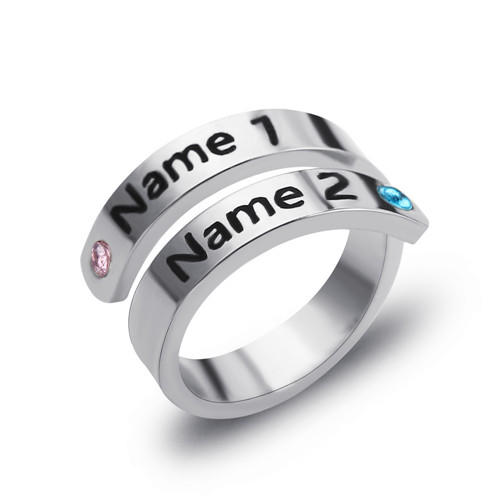 Custom two names engraved open rings adjustable double birthstone rings twist band couple ring sterling silver