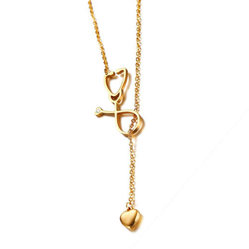 Gold plated love you heart pendant echometer shape necklace for women wholesale