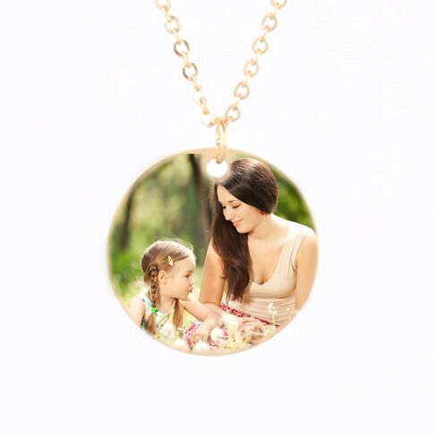 Fashion colorful photo jewelry custom image engraved round pendant necklace