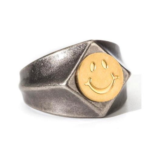 Unisex jewellry vintage style handmade ring with smile face unique design rings for men