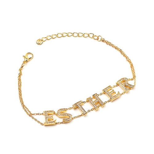 Gold plated nameplate necklace with doule chains vendor personalized dimonds name jewelry china factory