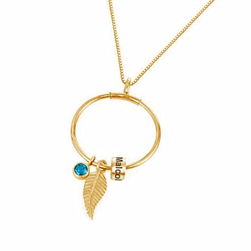 Beads jewelry personalised leaf and birthstone names engraving pendant DIY necklace