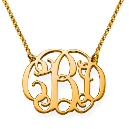 Personalized gold plated script monogram necklace wholesale custom name pendant monogram jewelry 925 silver