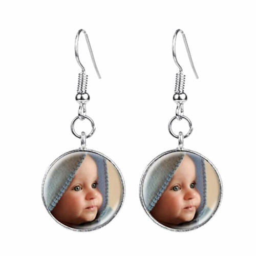 Personalized photo jewelry gifts custom sterling silver long dangling drop photo earrings image jewellery wholesale