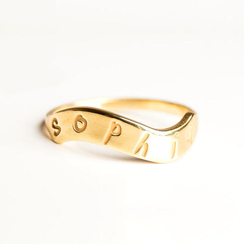 Curve shape gold name ring with birthstone personalised ring with names engraved signet jewelry