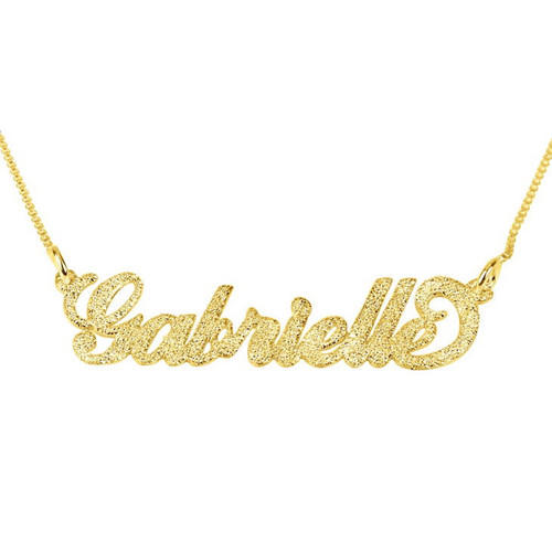 Personalised diamante necklaces in gold plating custom made stainless steel name jewelry factory china
