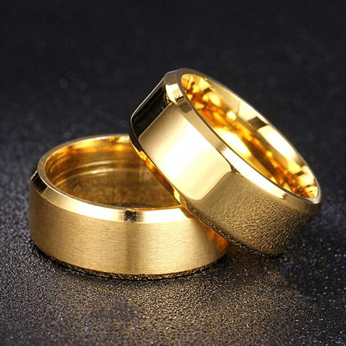 Satin finish and bright surface gold plating band rings custom name engraved men's jewelry