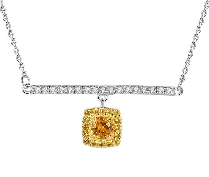 Golden citrine pendant sterling silver 925 diamond lateral bar necklace wholesale