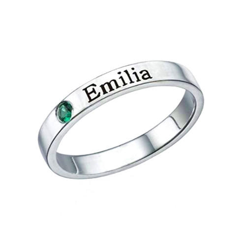 Personalized sterling silver birthstone jewelry custom made wedding rings stackable white gold name rings wholesale