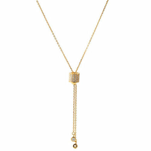 Adjustable 925 sterling silver round pendant diamond choker necklace in gold plating