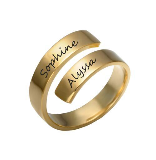 Personalized name engraving jewelry wholesale custom open design 2 names rings