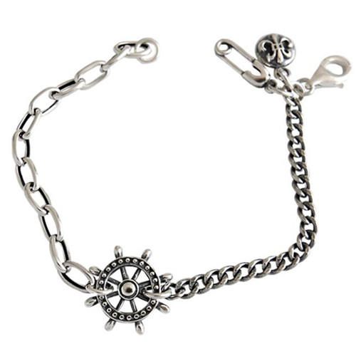 Antique fashion silver jewelry wholesale rudder and pin chain bracelets