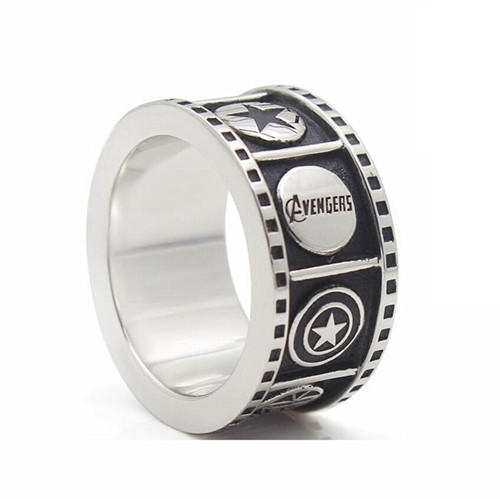 Custom made fashion marvel avengers jewelry for men personalised captain america shield rings wholesale
