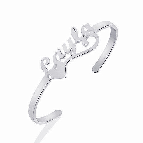 Personalized heart and name jewelry adjustable nameplate bangles in silver wholesale