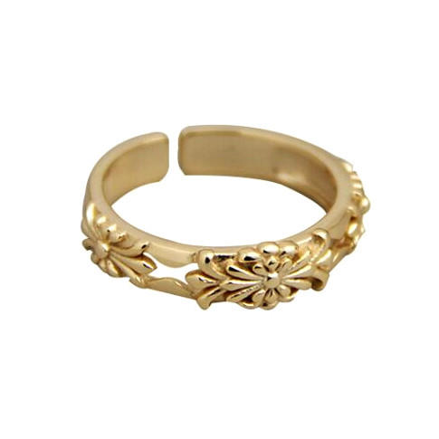 Gold plated flower fine jewelry sterling silver open design hollow out rings