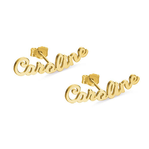 Gold plated custom stud earrings with your name personalized jewels nameplate earrings for women in 925 sterling silver