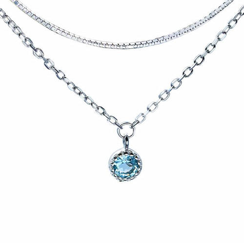 14K white gold plated box chain necklace sky blue topaz fine jewellery