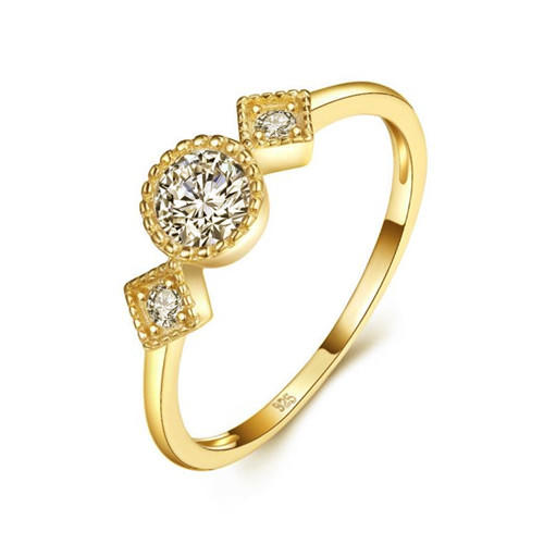Champagne gold 3 stone diamond finger ring in 925 sterling silver wholesale white zircon band rings supplier china