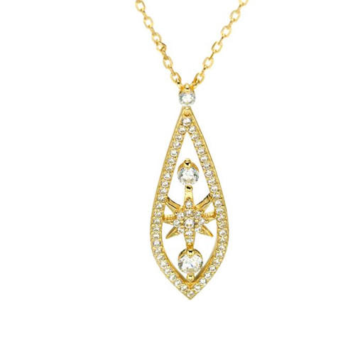 14k gold plated water drop statement chain necklace 925 sterling silver zircon inlaid jewelry