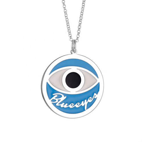 Personalized blue sky enamel jewels custom made evil eye circle name necklace
