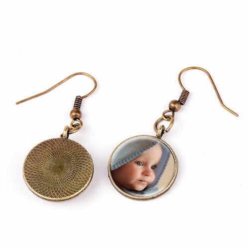Laser etched photo jewelry long dangling drop image photo earrings