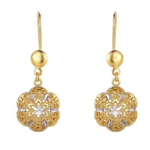 Wholesale gold plated luxury jewelry long drop flower earrings for women in 925 sterling silver