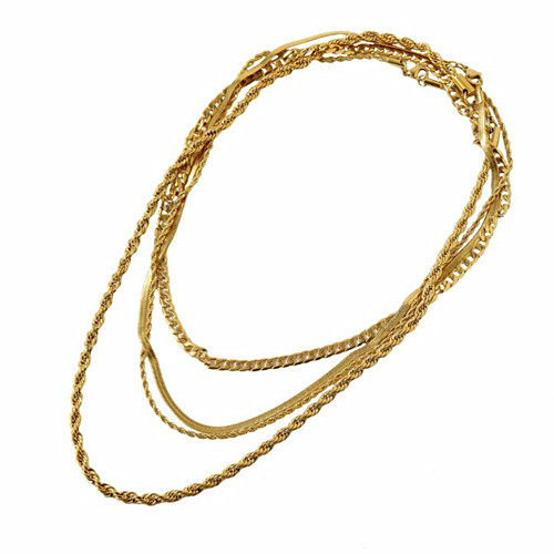 Fashion brass women jewellery wholesale three layered chain necklace