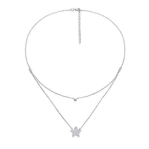 2 layers delicate zircon jewelry star pendant diamond necklaces in sterling silver