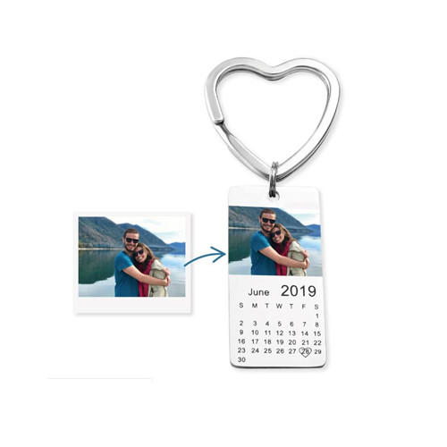 Customized calendar jewelry personalized full color photo engraved keychain