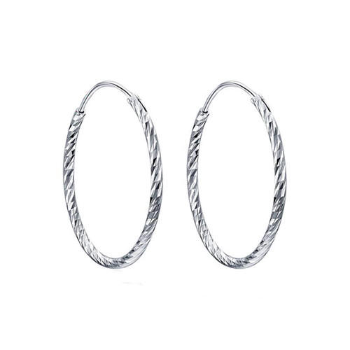 Classic fashion big round open circle diamond earrings 925 sterling silver large disc bold hoop earrings