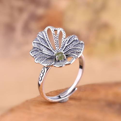 Lotus leaf jewelry big jade stone finger ring in sterling silver adjustable antique greenstone hand jewels jewelry wholesale dropship jade ring from china