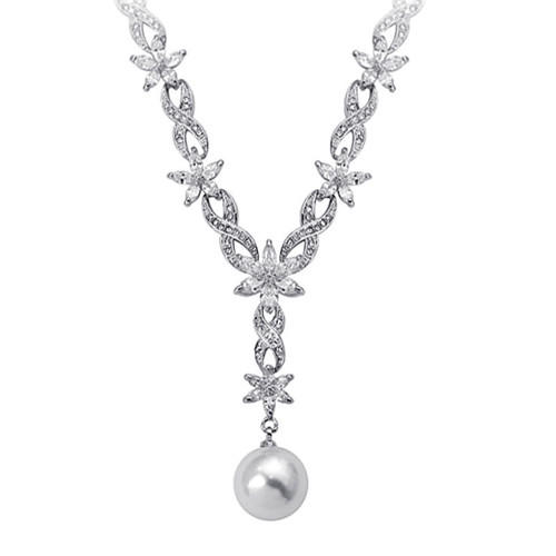 Fashion luxury wedding bridal jewelry flower and infinity chain pearl pendant necklace