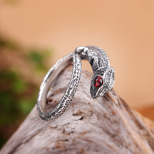 Handmade antique snake ring with ruby eyes for women 925 sterling silver adjustable mens red garnet snake jewellery in middle finger wholesale