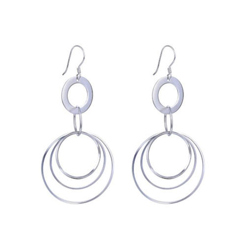 S925 sterling silver open circle stud earrings drop circle earrings for women & girls piercing ears jewelry