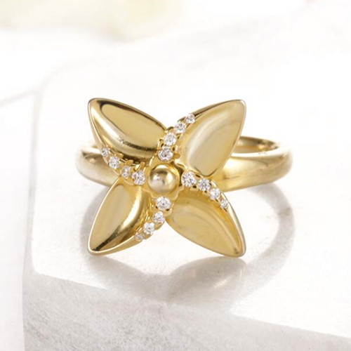Women fashion jewellery 925 sterling silver rotating windmill ring 14k gold plated rotating clover rings with zircon