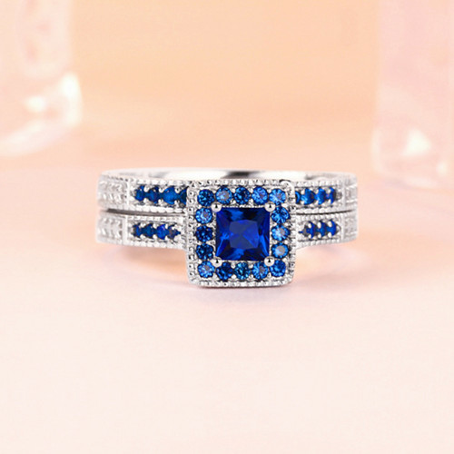 Navy blue diamond two in one zirconia rings set 2 in 1 round double band square finger engagement ring with stone in sterling silver jewelry wholesale distributors china