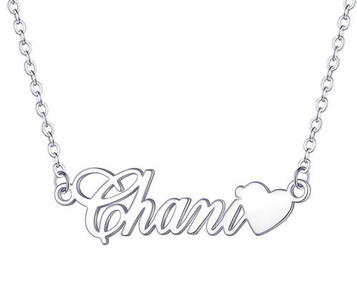 Custom made name necklaces with heart in silver supplier china