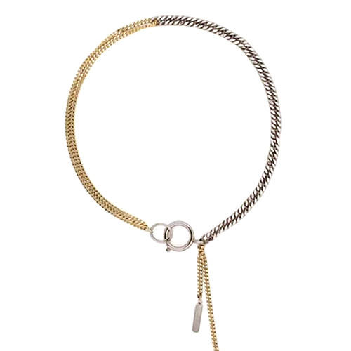 Urban chic design silver and gold two tone chain choker necklace for women
